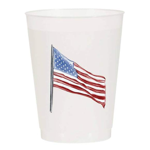 American Flag Watercolor Reusable Cups - Set of 10
