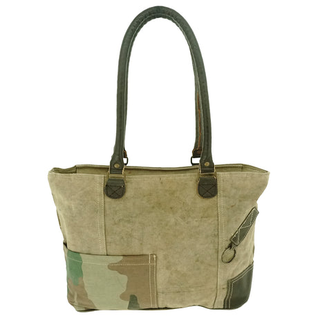 Recycled Tent Tote with Camoflouge and Leather