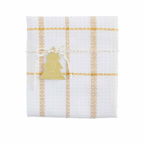 Gold Plaid Dish Towel Set