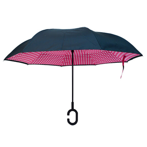 Pink Polka Dot Double Layer Inverted Umbrella