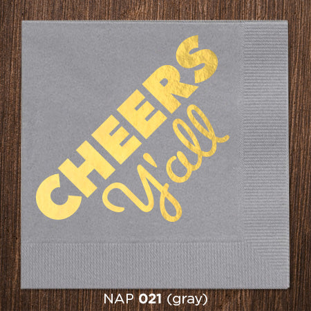 Charcoal Cheers Y'all Napkins