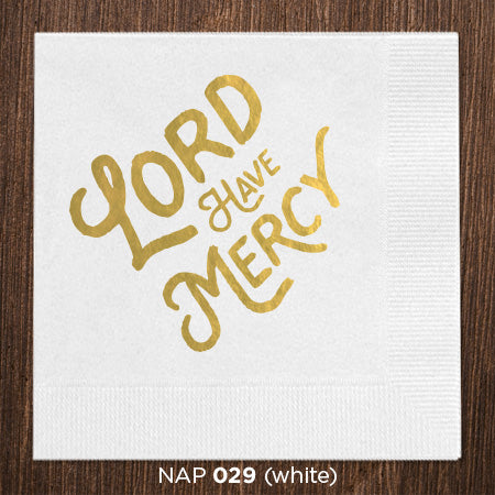 White Lord Have Mercy Napkins