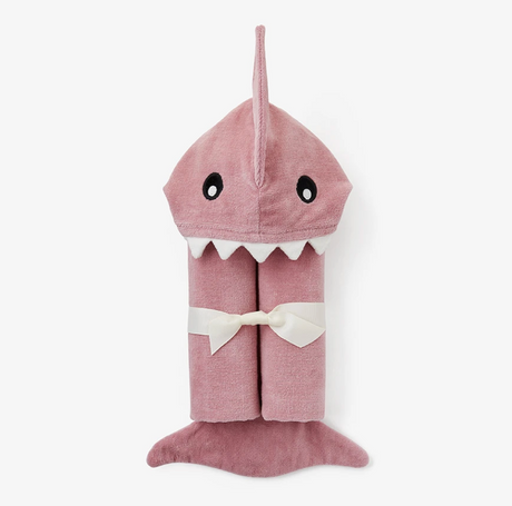 Pink Shark Hooded Towel