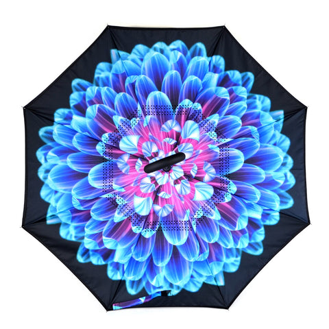 Bright Blue Flower Mosaic Double Layer Inverted Umbrella