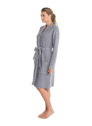 Heathered Ribbed Robe, Pacific Blue/Pearl
