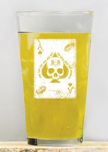 5x5 Ace of Spades Pint Glass - 16 oz.