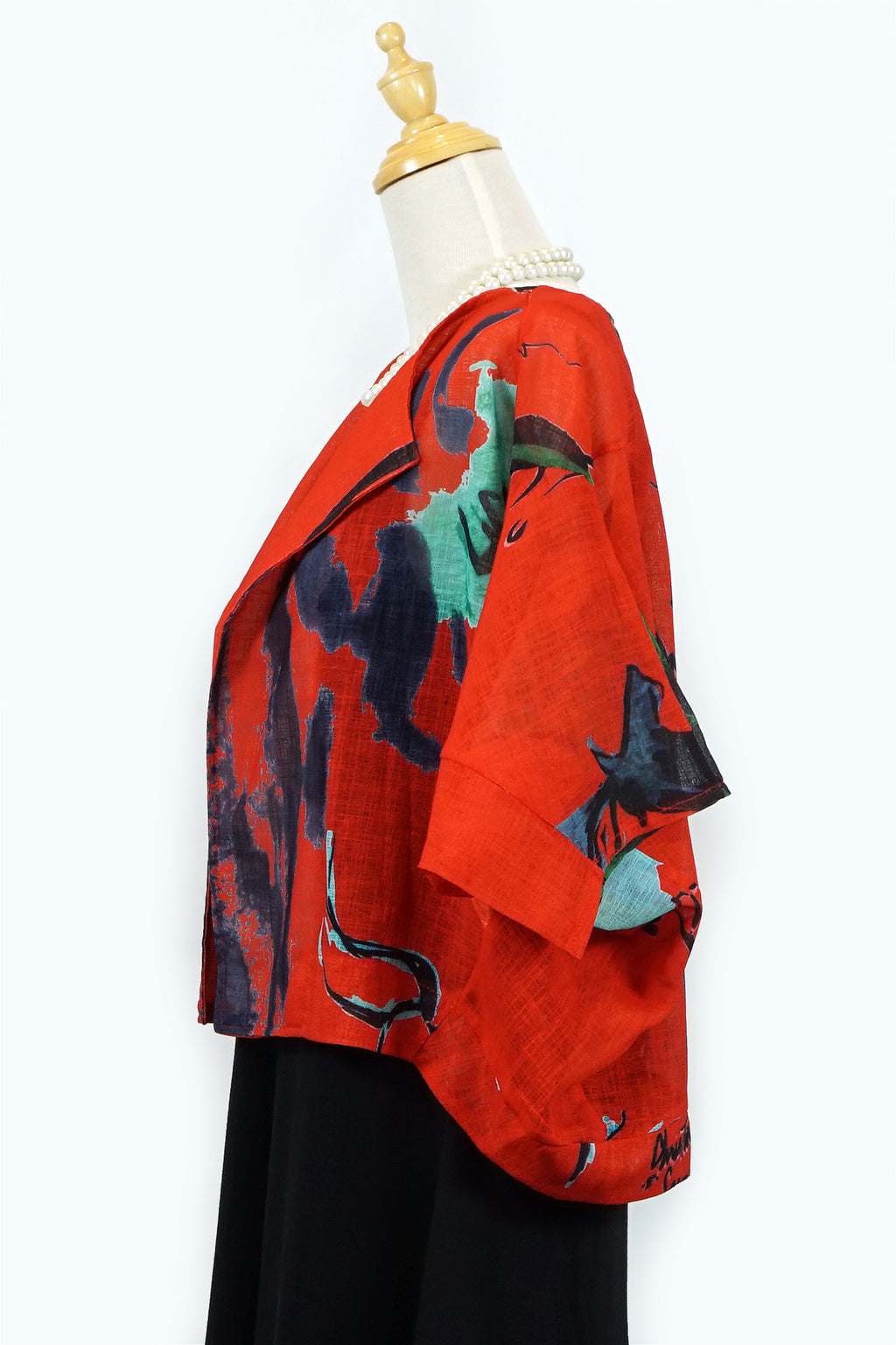 Red Abstract Short Jacket