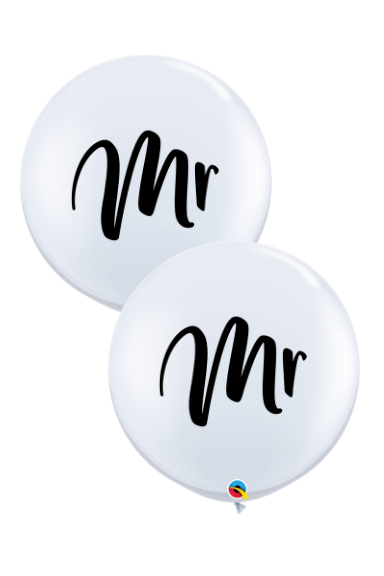 White Jumbo Mr. & Mr. Balloons