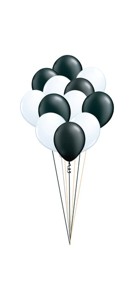 A Dozen Black and White Balloons