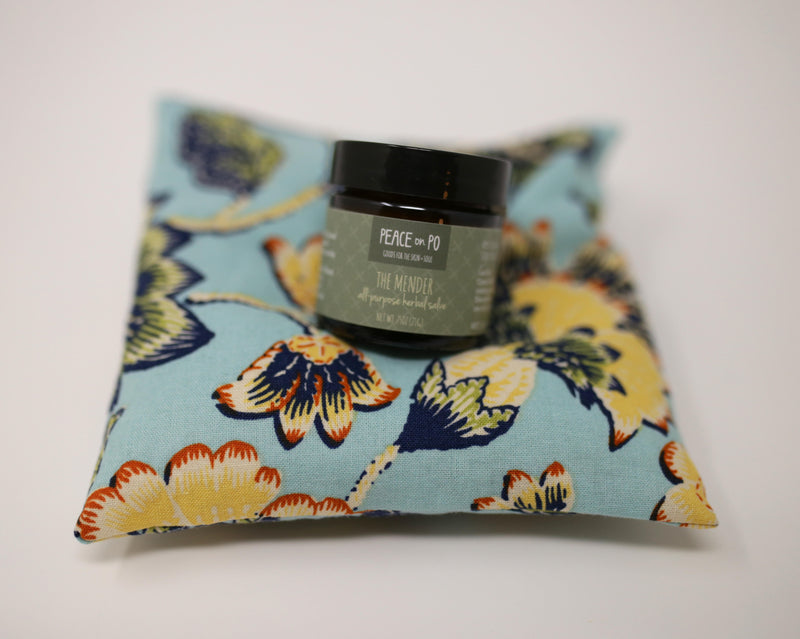 Included in kit is an ouchie pillow made of flax to be used hot or cold for comfort. And an all-purpose natural skin salve.