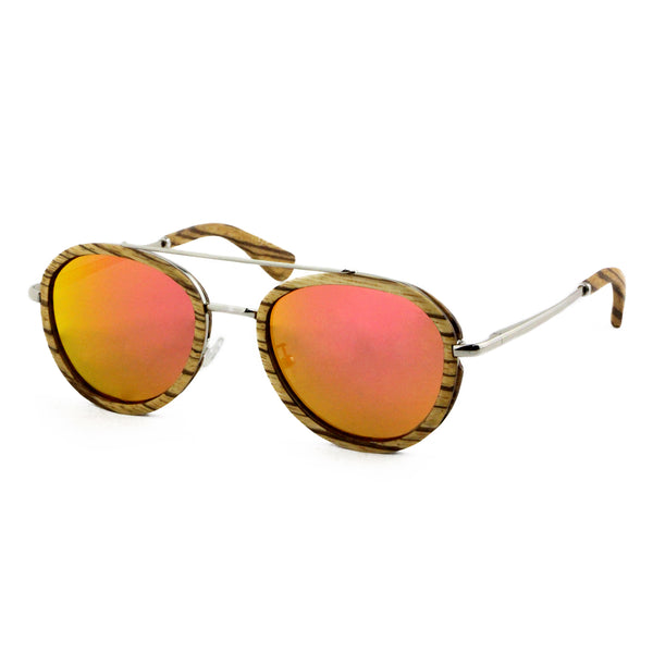 Liberator - Wood+Metal Sunglasses Zebrawood/Sunset Lens