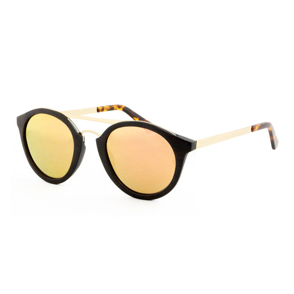 Saona - Wood+Metal Sunglasses Ebony Wood/Rose Gold Lens