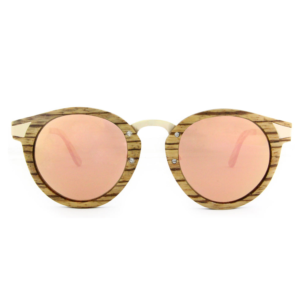 Ottawa - Wood+Metal Sunglasses Zebrawood/Rose Gold Lens