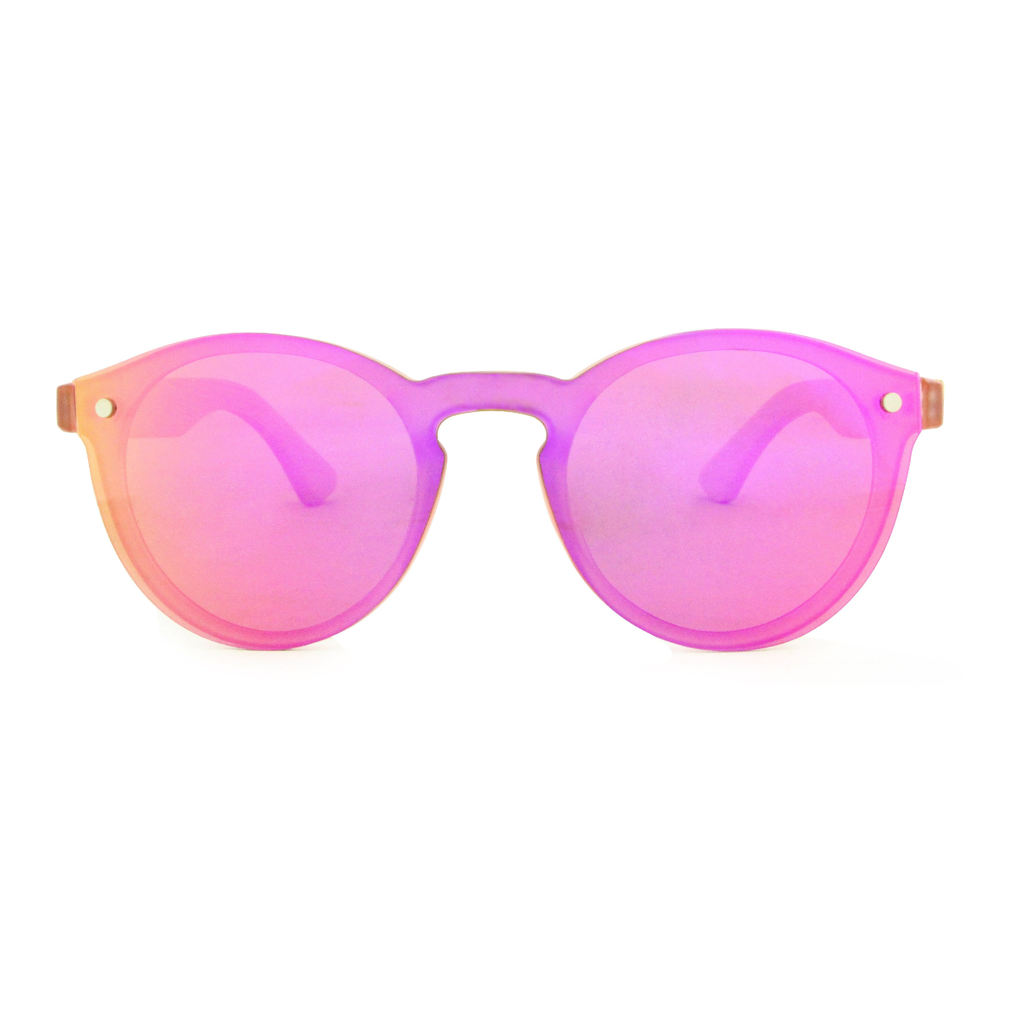 Leah - Pink Rimless Full Front Mirror Bamboo Sunglasses