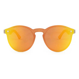 Leah - Orange Rimless Full Front Mirror Bamboo Sunglasses