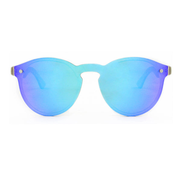 Leah - Blue Rimless Full Front Mirror Bamboo Sunglasses