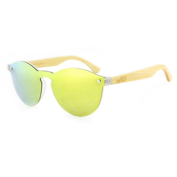 Leah - Gold Rimless Full Front Mirror Bamboo Sunglasses