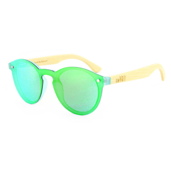 Leah - Green Rimless Full Front Mirror Bamboo Sunglasses