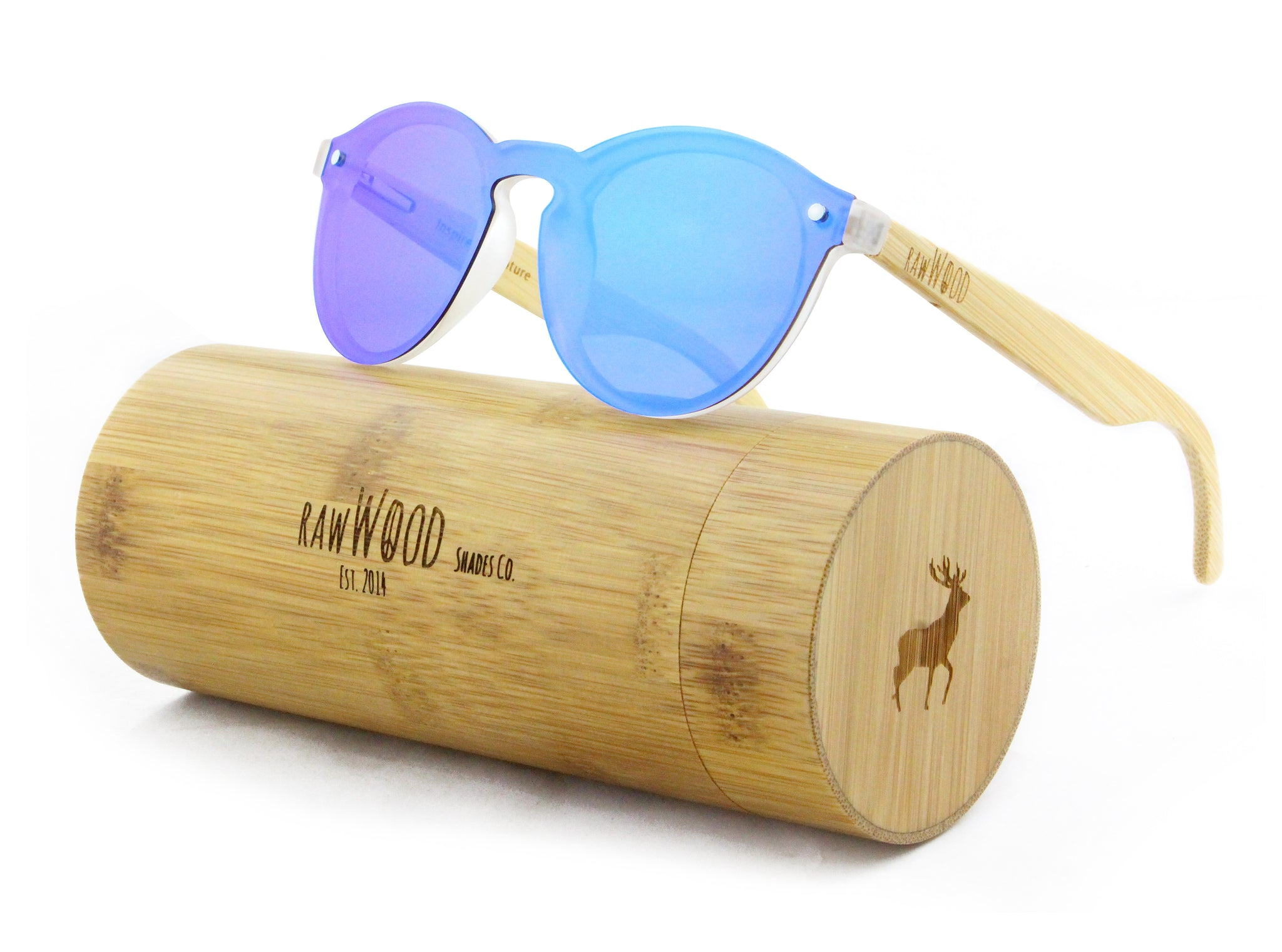 18ba554f7c79b Leah - Rimless Full Front Mirror Bamboo Sunglasses. 1 review