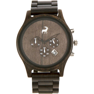 Chrono Minimalist Wood Watch - Dark