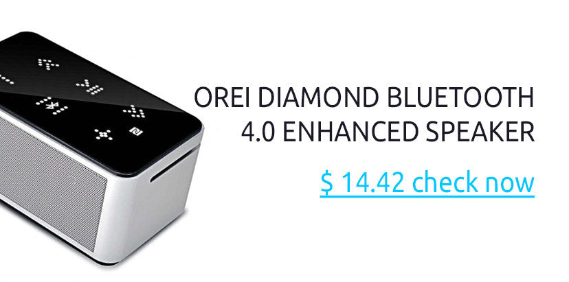 OREI Diamond Enhanced Bass NFC Bluetooth 4.0 Wireless Speaker, Powerful Sound, Built in Mic, Aluminum Body, Touch Panel & Compact Size
