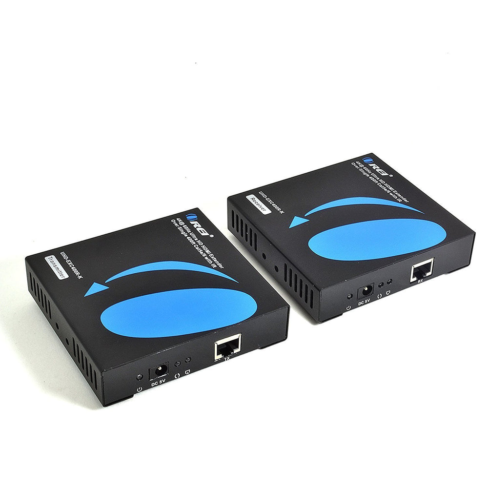OREI Ultra HD HDMI Extender Over IP upto 400 ft Transmitter Receiver Box Front View