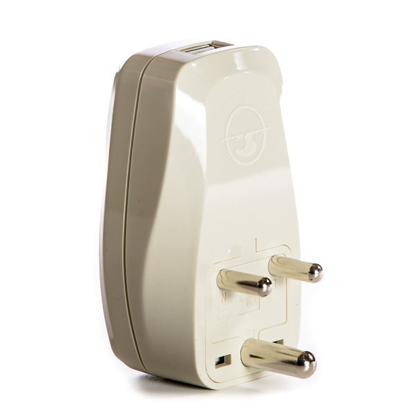 OREI 3 in 1 India Travel Adapter Plug with USB and Surge Protection - Grounded Type D - India, Africa & More - CE Certified - RoHS Compliant WP-D-GN