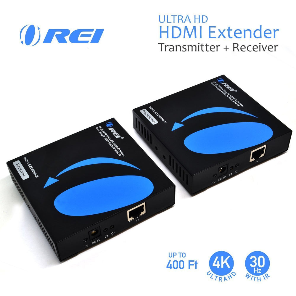 OREI Ultra HD HDMI Extender Over IP upto 400 ft Transmitter Receiver Box