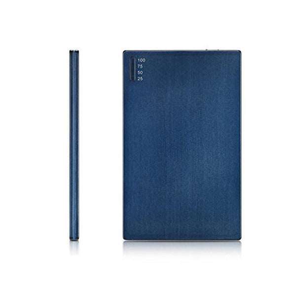 OREI Super Ultra Slim Elegant Brushed Aluminum External Battery for Cell Phones - Unicharge Technology - Blue