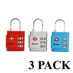 Orei TSA Accepted Combination Number Luggage Red, Silver and Blue Locks set