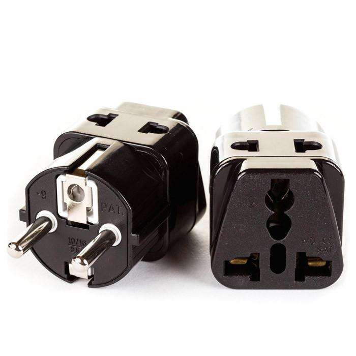 OREI 2 in 1 USA to Europe Adapter Plug (Schuko, Type E/F) - 2 Pack, Black