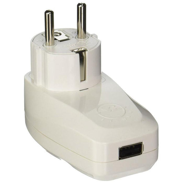 OREI 3 in 1 Schuko Travel Adapter Plug with USB and Surge Protection Grounded