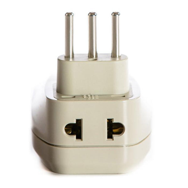 OREI 3 in 1 Italy Travel Adapter Plug with USB and Surge Protection - Grounded Type L - Italy & More - CE Certified - RoHS Compliant WPU-L-GN