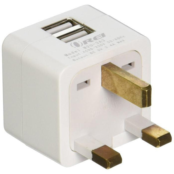 OREI 3.4A 2 USB Plug Adapter Type G for UK, Hong Kong, Singapore - iPhone/iPad, Galaxy & More front