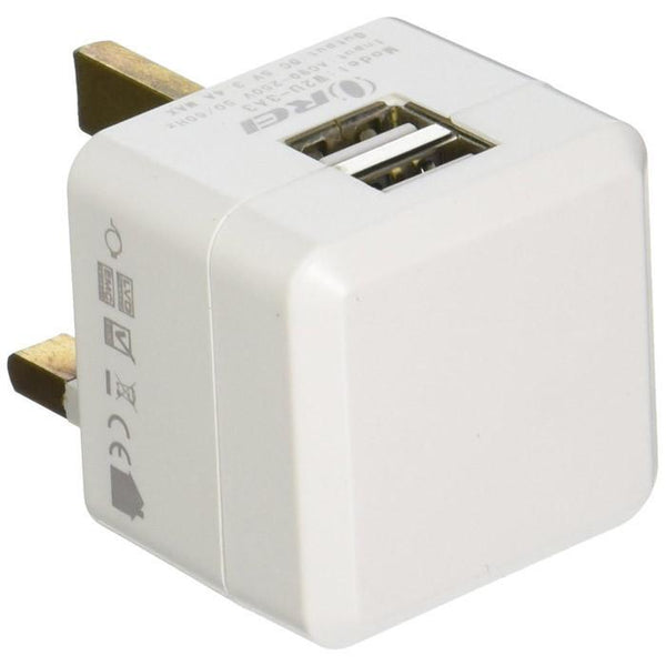 OREI 3.4A 2 USB Plug Adapter Type G for UK, Hong Kong, Singapore - iPhone/iPad, Galaxy & More back