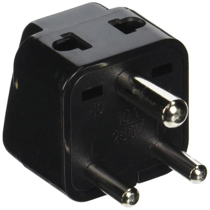Black Orei 2 in 1 USA to India travel adapter plug - output