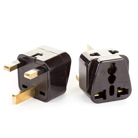 OREI 2 in 1 USA to UK/Hong Kong Adapter Plug (Type G) - 2 Pack, Black