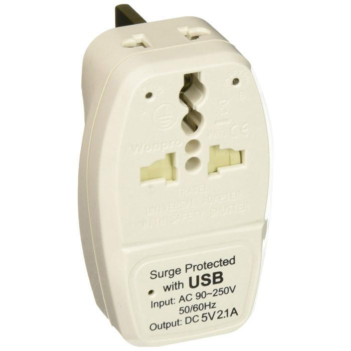 OREI 3 in 1 UK Travel Adapter Plug with USB and Surge Protection - Grounded Type G - Great Britain, Hong Kong, Singapore & More