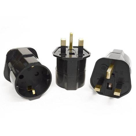Orei GP-023 Schuko European to UK Grounded Plug Adapter - 3 Pack