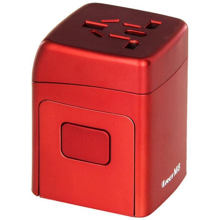 Orei M8 All-in-One International Worldwide Travel Plug Adapter with Dual USB Charger - 150+ Countries, Fuse Protected, Red