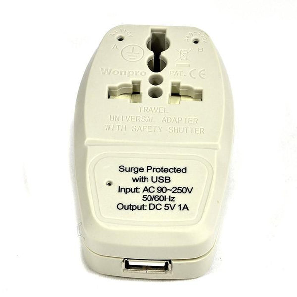Orei 3 in 1 Israel Travel Adapter Plug with USB and Surge Protection-Grounded Type H - Retail Packaging - Ivory