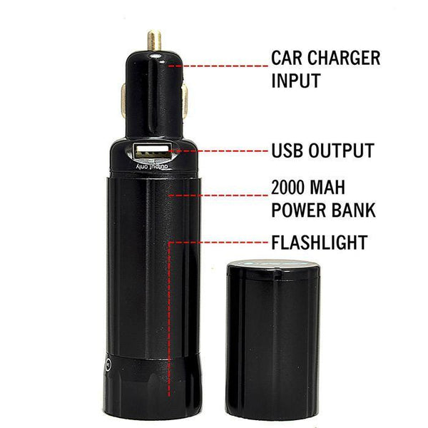 OREI 2000Mah Power Bank with Built-in Car Charger External Battery for Smartphones iPhone, Galaxy and More plus Emergency Low Power Flashlight