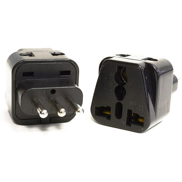 OREI 2 in 1 USA to Italy Adapter Plug (Type L) - 2 Pack, Black