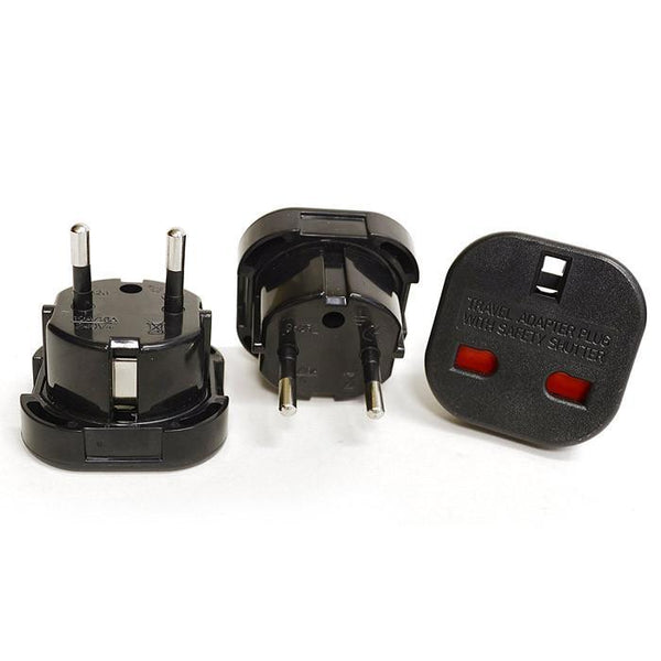 OREI GP-021 Continental UK 3-Pin To Schuko European 2-Pin Grounded Travel Adapter Plug - 3 Pack