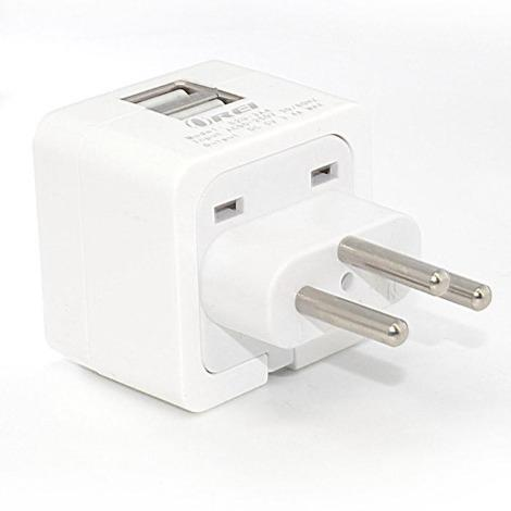 Orei Swizterland 2 USB (3.4A/17W) Travel Charger for all iPhone, iPad, Samsung Galaxy, Android, HTC One, Motorola, LG (W2U-J)