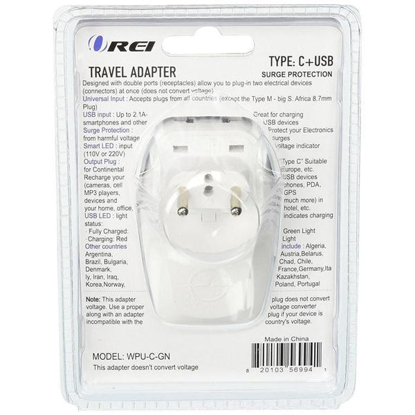 OREI 3 in 1 Continental Europe Travel Adapter Plug with USB and Surge Protection - Type C - Turkey, Italy & More