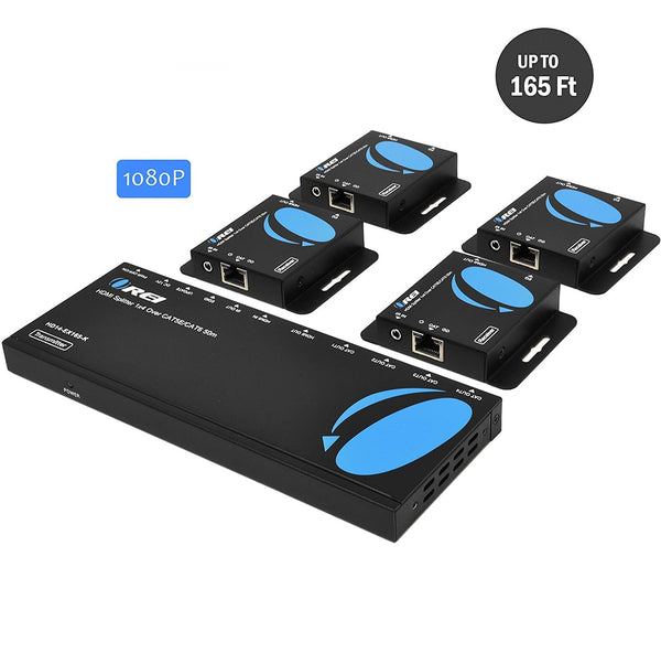 1x4 HDMI Extender Splitter Over Single Cable CAT6/7 1080P With IR Remote EDID Management - Up To 165 Ft - Loop Out - Low Latency (HD14-EX165-K)