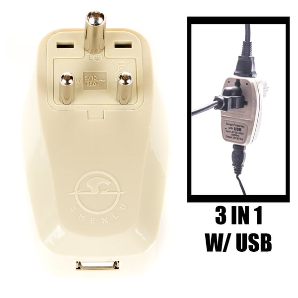 India Travel Adapter Plug with USB and Surge Protection - Grounded Type D