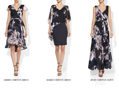 Maree, Ruby and Sierra Floral Navy Tone Dresses Montique