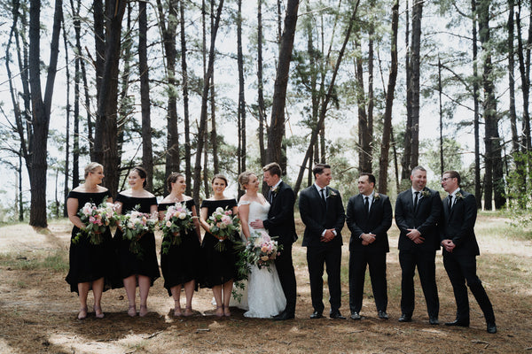 Gemma's Bridal Party stood out wearing our Alex Dress. Photo by All My Wednesdays.